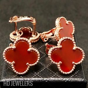 Jewelry - Red Four Leaf Clover Flower Rose Gold Stud Earring